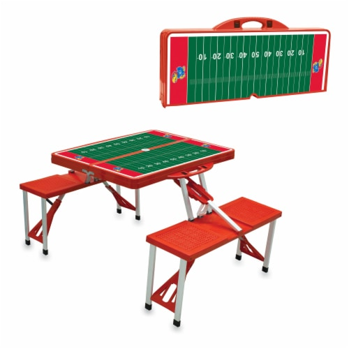 Kansas Jayhawks - Picnic Table Portable Folding Table with Seats Perspective: top