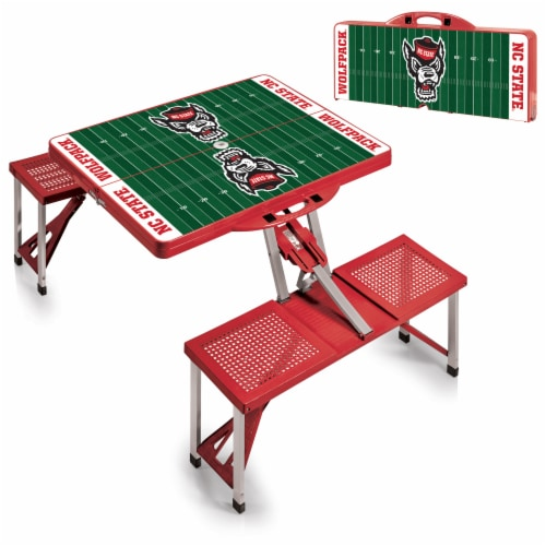 NC State Wolfpack - Picnic Table Portable Folding Table with Seats Perspective: top