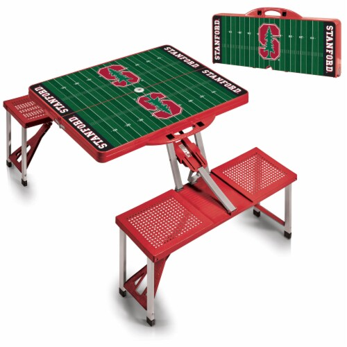 Stanford Cardinal - Picnic Table Portable Folding Table with Seats Perspective: top