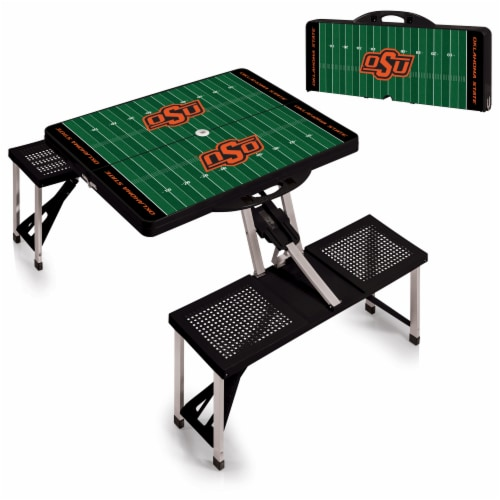 Oklahoma State Cowboys - Picnic Table Portable Folding Table with Seats Perspective: top