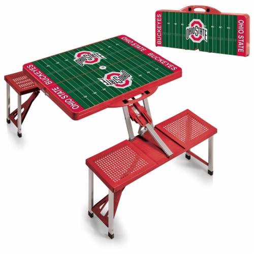 Ohio State Buckeyes - Picnic Table Portable Folding Table with Seats Perspective: top