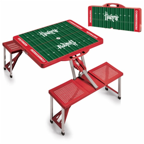 Nebraska Cornhuskers - Picnic Table Portable Folding Table with Seats Perspective: top