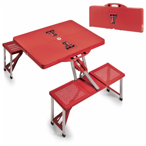 Texas Tech Red Raiders - Picnic Table Portable Folding Table with Seats Perspective: top