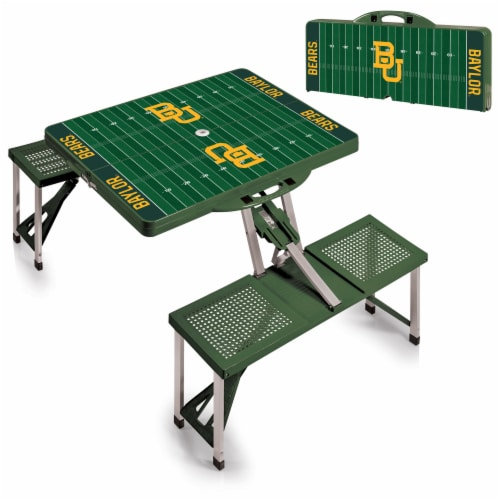 Baylor Bears - Picnic Table Portable Folding Table with Seats Perspective: top