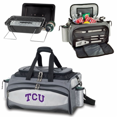 TCU Horned Frogs - Vulcan Portable Propane Grill & Cooler Tote Perspective: top