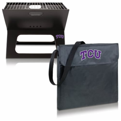TCU Horned Frogs - X-Grill Portable Charcoal BBQ Grill Perspective: top