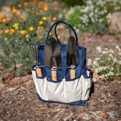Garden Tote with Tools, Navy Blue with Beige Accents Perspective: top