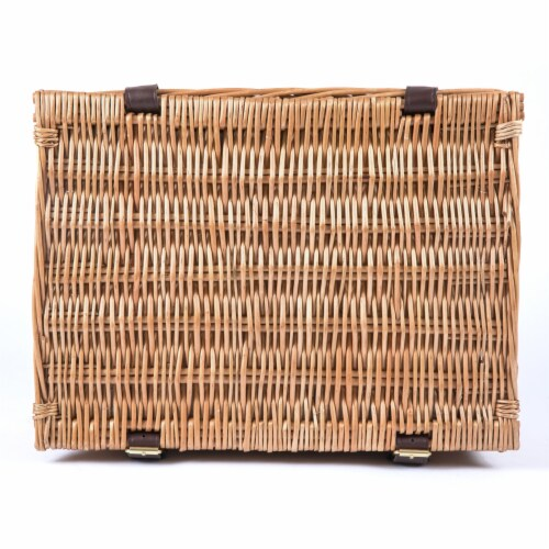 Bristol Picnic Basket, Navy Blue & Burgundy Plaid Pattern Perspective: top