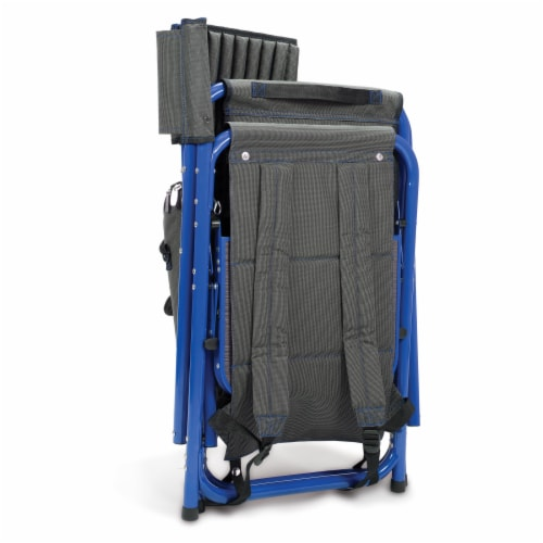 Fusion Backpack Chair with Cooler, Dark Gray with Blue Accents Perspective: top