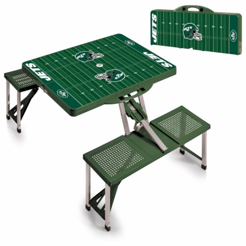 New York Jets - Picnic Table Portable Folding Table with Seats Perspective: top