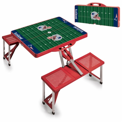 New England Patriots - Picnic Table Portable Folding Table with Seats Perspective: top