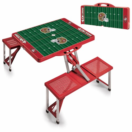 San Francisco 49ers - Picnic Table Portable Folding Table with Seats Perspective: top