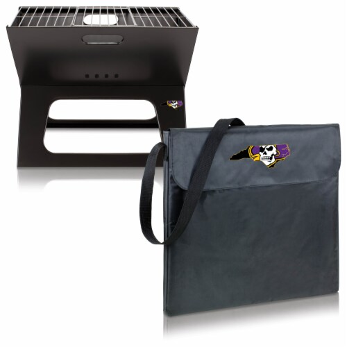 East Carolina Pirates - X-Grill Portable Charcoal BBQ Grill Perspective: top
