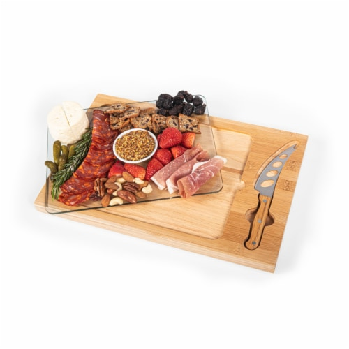 Icon Glass Top Cutting Board & Knife Set, Rubberwood & Bamboo Perspective: top