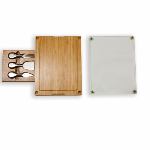 Concerto Glass Top Cheese Cutting Board & Tools Set, Bamboo Perspective: top