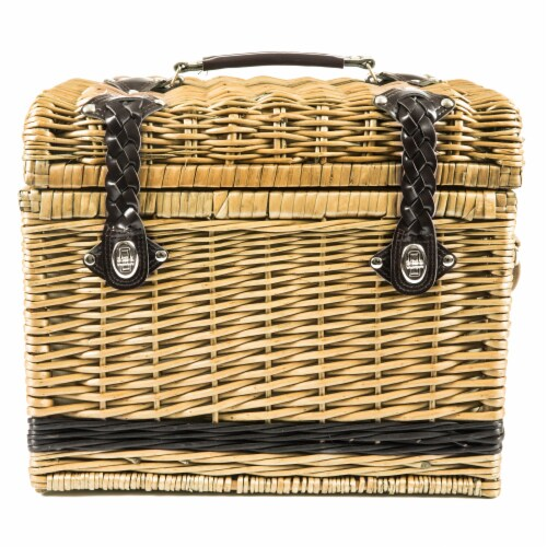 Yellowstone Picnic Basket, Brown with Beige & Red Accents Perspective: top