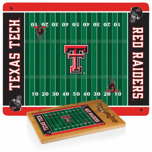 Texas Tech Red Raiders - Icon Glass Top Cutting Board & Knife Set Perspective: top