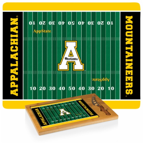 App State Mountaineers - Icon Glass Top Cutting Board & Knife Set Perspective: top