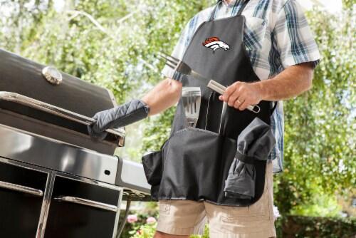 Denver Broncos BBQ Apron Tote Pro Set with Tools Perspective: top