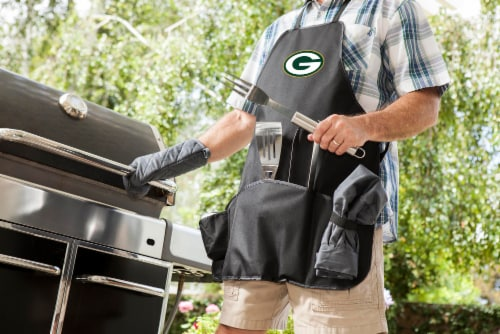 Green Bay Packers BBQ Apron Tote Pro Set with Tools Perspective: top