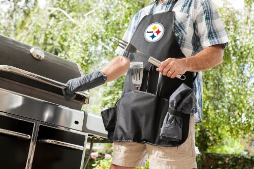Pittsburgh Steelers BBQ Apron Tote Pro Set with Tools Perspective: top