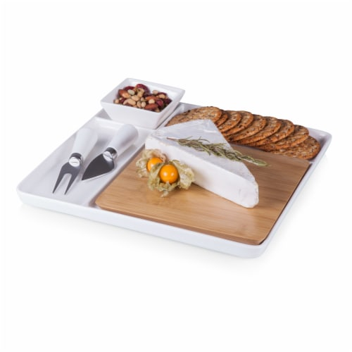 Peninsula Cutting Board & Serving Tray, Bamboo & White Porcelain Perspective: top