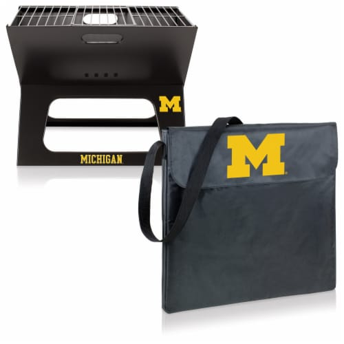 Michigan Wolverines - X-Grill Portable Charcoal BBQ Grill Perspective: top