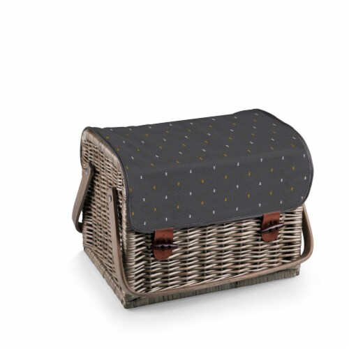 Kabrio Wine & Cheese Picnic Basket, Gray with Gold Accents Perspective: top