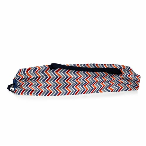 Tranquility Portable Beach Chair, Vibe Collection - Navy Blue, Orange, & Gray Pattern Perspective: top
