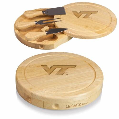 Virginia Tech Hokies - Brie Cheese Cutting Board & Tools Set Perspective: top