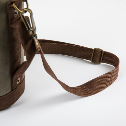 Insulated Growler Tote, Khaki Green with Brown Accents Perspective: top