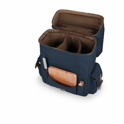 Moreno 3-Bottle Wine & Cheese Tote, Navy Blue Perspective: top
