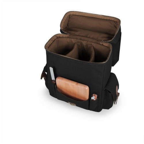 Moreno 3-Bottle Wine & Cheese Tote, Black Perspective: top