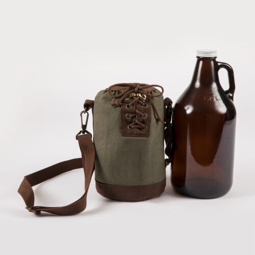 Insulated Growler Tote with 64 oz. Glass Growler, Khaki Green Perspective: top