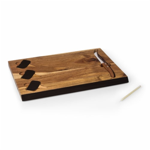Picnic Time Delio Acacia Cheese Board with Chalk Board Markers - Acacia Perspective: top