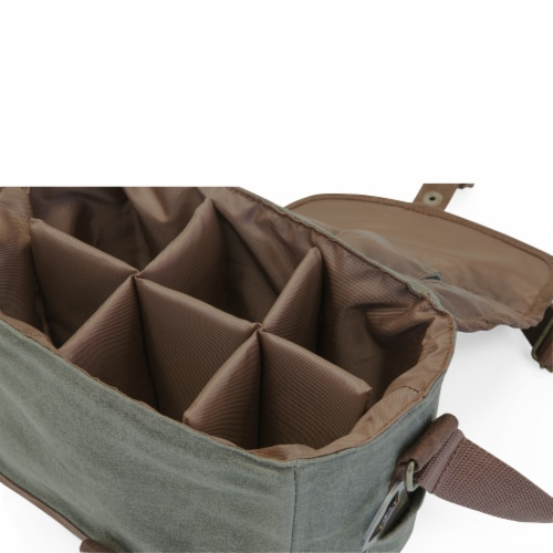Legacy Beer Caddy Cooler Tote with Opener - Khaki Green/Brown Perspective: top