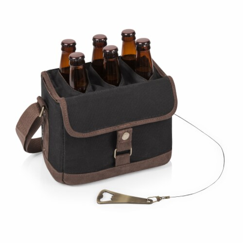 Beer Caddy Cooler Tote with Opener, Black with Brown Accents Perspective: top