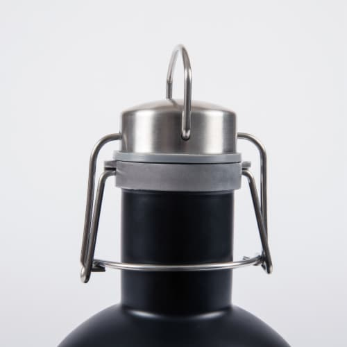 Stainless Steel 64 oz. Growler, Matte Black Perspective: top