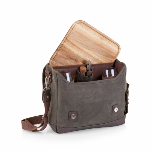Adventure Wine Tote, Khaki Green with Brown Accents Perspective: top
