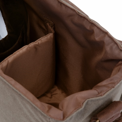 Insulated Double Growler Tote, Khaki Green with Brown Accents Perspective: top