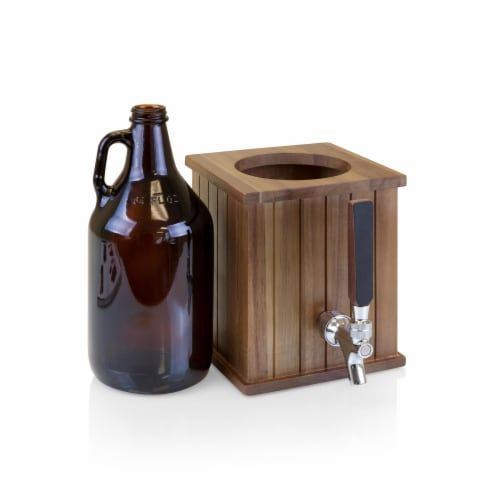 Growler Tap with 64 oz. Glass Growler, Acacia Wood Perspective: top