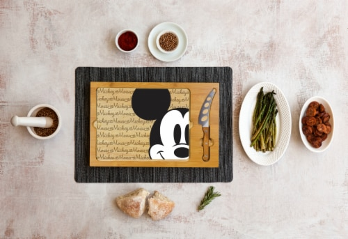 Disney Mickey Mouse - Icon Glass Top Cutting Board & Knife Set, Rubberwood & Bamboo Perspective: top