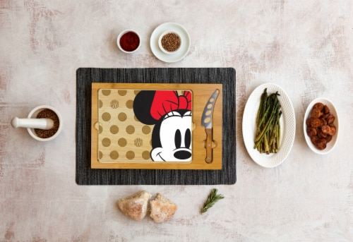 Disney Minnie Mouse - Icon Glass Top Cutting Board & Knife Set, Rubberwood & Bamboo Perspective: top