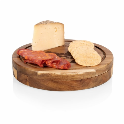 Disney Mickey & Minnie Mouse - Acacia Brie Cheese Cutting Board & Tools Set, Acacia Wood Perspective: top
