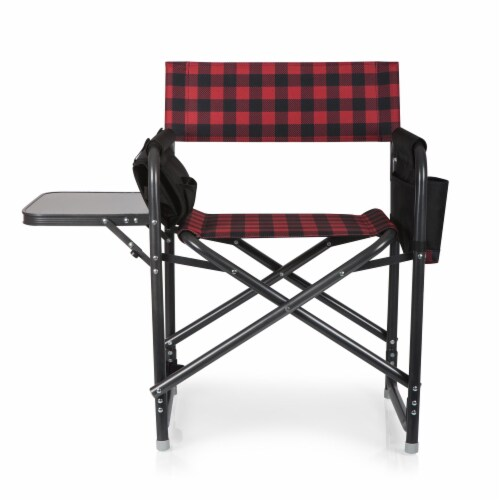 Outdoor Directors Folding Chair, Red & Black Buffalo Plaid Pattern Perspective: top
