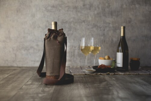 Waxed Canvas Wine Tote, Khaki Green Perspective: top
