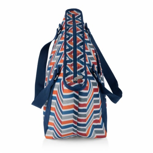Topanga Cooler Tote Bag, Vibe Collection - Navy Blue, Orange, & Gray Pattern Perspective: top