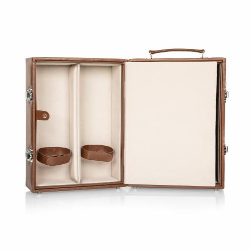 Manhattan Cocktail Case, Mahogany with Tan Accents Perspective: top