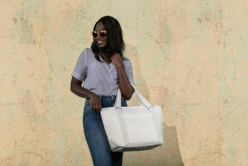 Topanga Cooler Tote Bag, Sand Perspective: top
