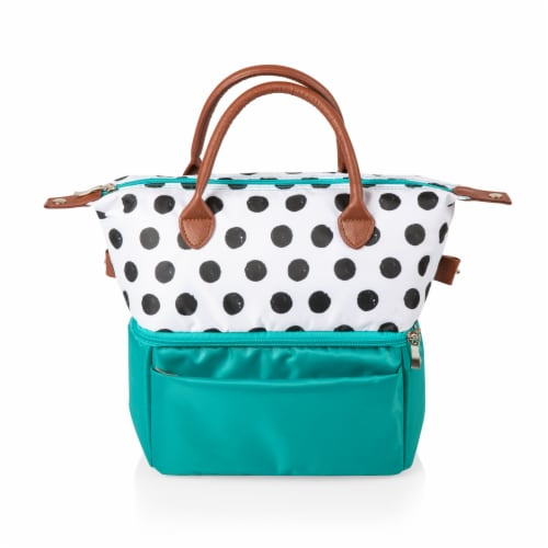 Urban Lunch Bag, Teal with Polka Dot Pattern Perspective: top